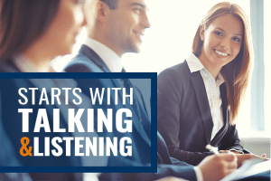 Salesperson - starts with talk and listening.
