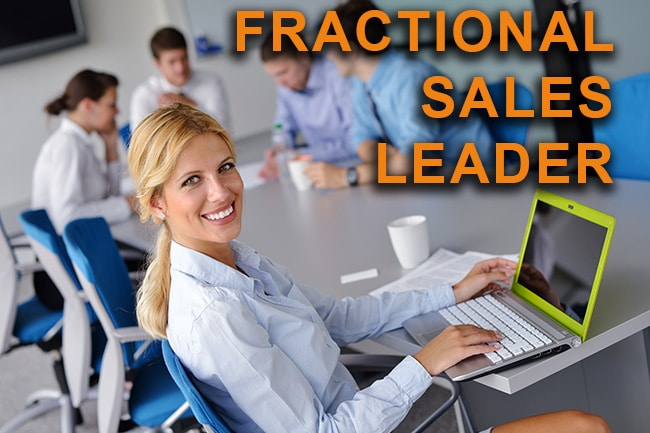 fractional sales leader sitting with her team